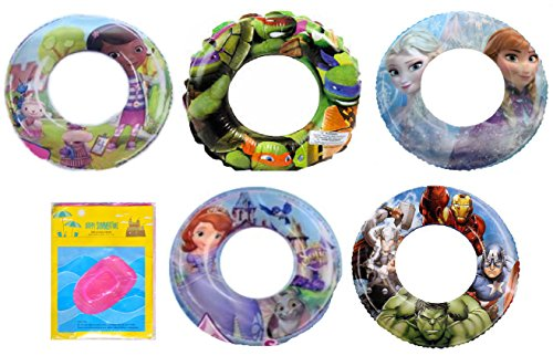 Last Minute Mom And Baby Costumes (Doc McStuffins Avengers Ninja Turtles Frozen Sofia the First Disney Nickelodeon Character Pool Toys Inflatable Swim Ring Tube Toy for Kids Boys Girls Party Pack with PINK Pool Boat Float Raft)