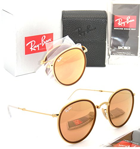 Folding Round Ray-Ban RB 3517 001/Z2 51mm Gold Frame Pink Mirror - Round Folding Ray Pink Ban