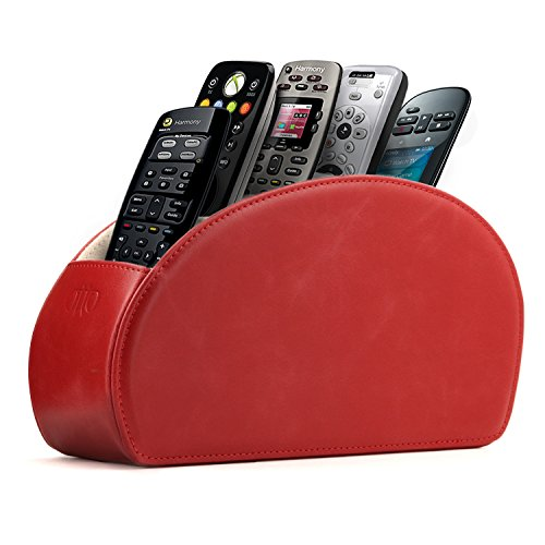 Single Dvd Color Red Slim (OTTO Leather Remote Controller Holder Organizer Store DVD Blu-ray TV Roku or Apple TV Remotes - Italian Genuine Leather with Suede Lining Living or Bedroom Storage (OTTO140), Red)