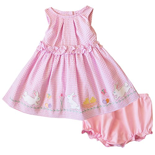 Good Lad Newborn/Infant Girls Pink Seersucker Dress With Bunny Appliques (Pink Seersucker Dress)