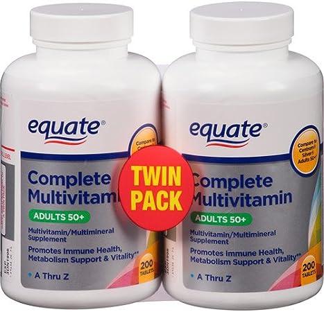 Amazon Com Equate Mature Multivitaminico Completo Para Adultos A Partir De 50 Anos 200 Unidades 2 Unidades Color Plateado Health Personal Care