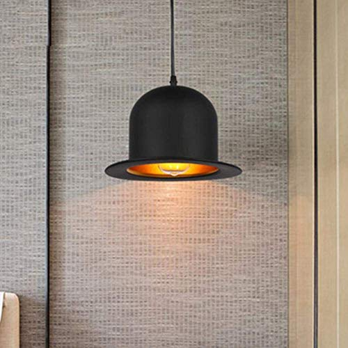 (Industrial Pendent Lamp Creative Vintage Retro Loft Metal Iron Hat Lampshade Chandelier for Bar Bedchamber Dining Hall 1Xe27 Hanging Lamp Lighting Adjustable Height, Household)