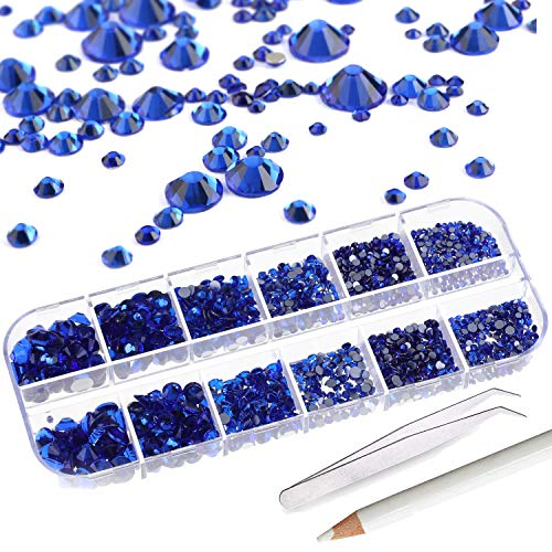 2000+ PCS Rhinestones for Craft,AKWOX Crystals Nail Art Rhinestones Round Beads Flatback Charms Gems Stones + Tweezers + Picking Pencil with Storage Organizer Box,6 Sizes(2-5 mm)-Royal Blue