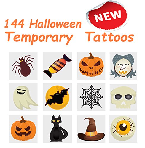 2'' Halloween Pumpkin Temporary Tattoos, 12 Assorted Styles (144 Pcs) Ideal to Fill Your Trick or Treat Bags, Great Halloween Party Favor, by 4E's Novelty, ()
