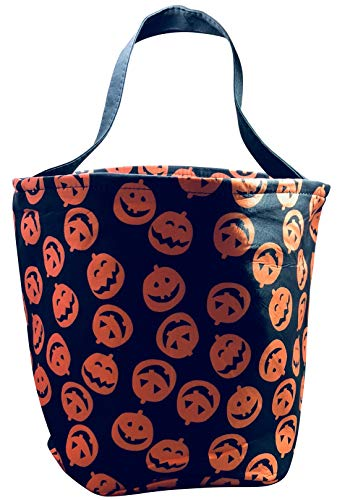 Jolly Jon Halloween Trick or Treat Bags - Kids Candy Bucket Tote Bag Orange, Black]()