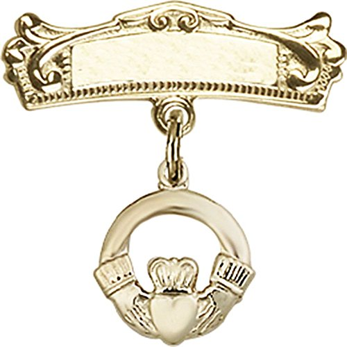 14kt Yellow Gold Baby Badge with Claddagh Charm and Arched Polished Badge Pin 3/4 X 3/4 inches by Unknown