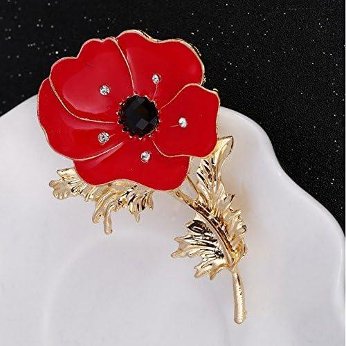 Poppy Flower Badges Brooch Pin Crystal Enamel Badge 2020 Red Poppy Branch