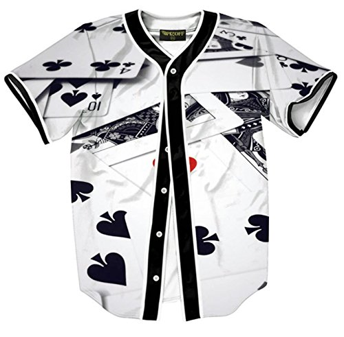PIZOFF Short Sleeve Beseball Team Jersey V-Neck Button Down Poker Print T Shirts ()