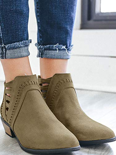 Western Ankle Vintage V Womens Low Chunky Stitch Leather Boots Cross Cut Heel Ermonn Criss Green TnxPn7