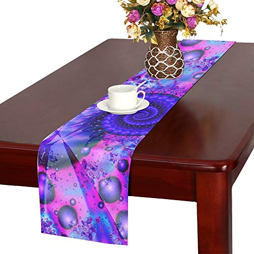 Fractal Fantasy Creative Futuristic Pattern Table Runner, Kitchen Dining Table Runner 16 X 72 Inch For Dinner Parties, Events, -