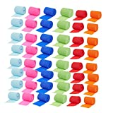 neon blue streamer - 48-Pack Party Streamers - Crepe Paper Rolls in 6 Assorted Colors - Perfect Supplies for Craft Projects, DIY, Theme Parties and Event Decorations, 32 Feet Long