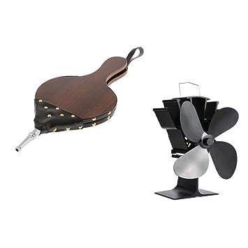 F Fityle 4 aspas ventilador de estufa autoalimentado con calor y quemador de troncos: Amazon.es: Bricolaje y herramientas