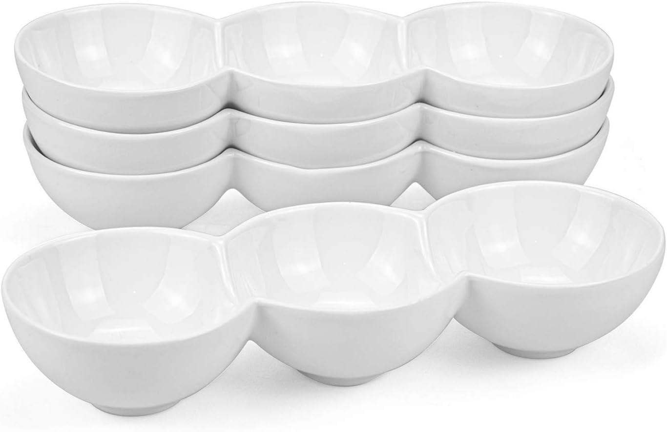 4-Compartment Porcelain Dip Bowl Sauce Dish Ceramic Dip Bowls Appetizer Serving Tray Set of 2pcs