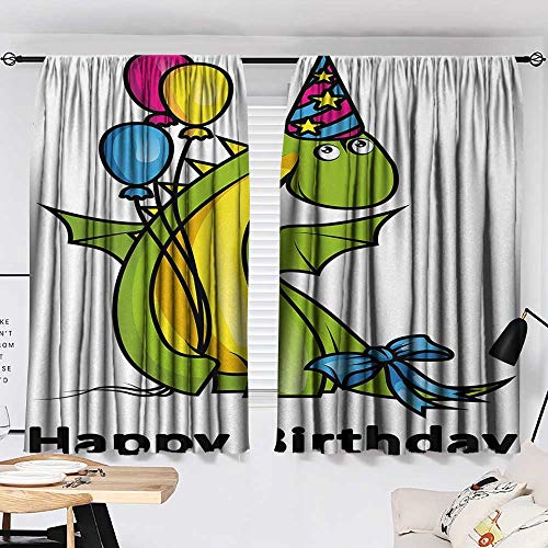 Kids Birthday Curtain for Living Room Little Baby Dinosaur Animal Party Event with Colorful Balloons top Darkening Curtains Fern Green and Yellow W55 x L39 by Jinguizi (Image #1)