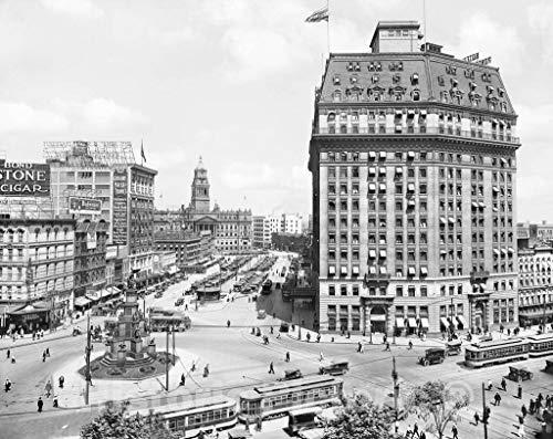 Restored Black & White Photo - Historic Detroit, Michigan - The Hotel Pontchartrain, c1918   60in x 44in ()