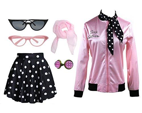 1950s Pink Ladies Satin Jacket T Bird Women Danny Halloween Costume Outfit (Black, X-Large)