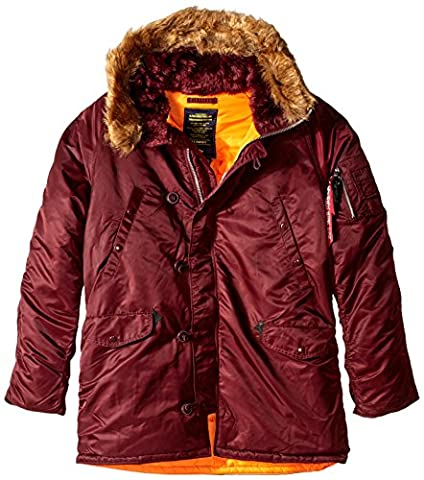 Alpha Industries Men's N-3B Slim-Fit Parka Jacket with Removable Faux-Fur Hood Trim, Maroon/Orange, - Fur Trimmed Knit Jacket