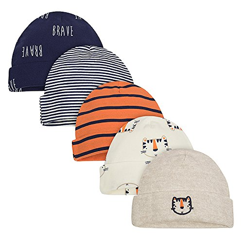 Gerber Baby Boys' 5-Pack Caps, Happy Tiger, 0-6 Months