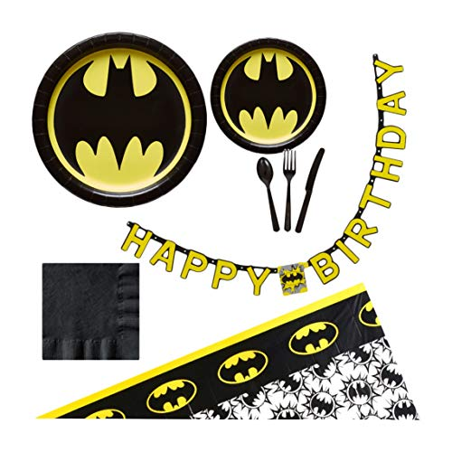 (Batman Birthday Party Supplies for 16 Guests - Plates, Tablecover, Banner, Cutlery,)
