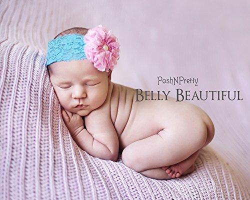 "3"" Fluffy Lace Flowers flower rosette PoshNPretty headband - Ivory"