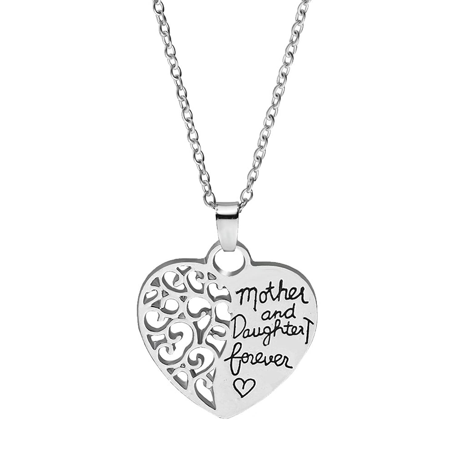 Mother And Daughter Forever - Hollow Heart Pendant Necklace - Best Family Gift