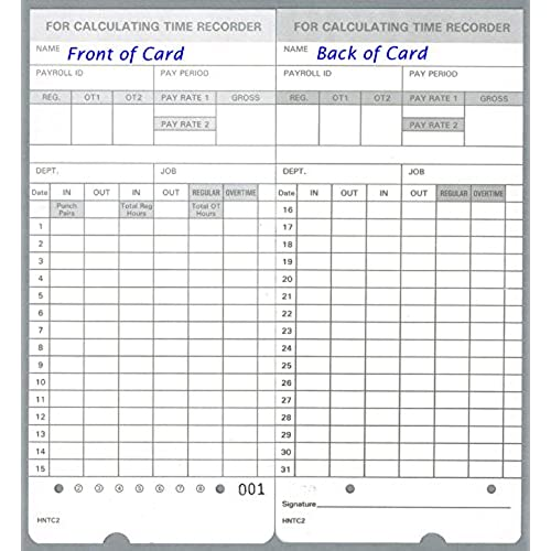 new 100 Time Cards for uPunch HN4000 / HN4500 fits all