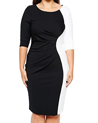 Damen Sommerkleid Lang 3/4 Ärmel Große Größe Mini Kleid Ballkleid ...