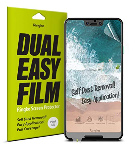 Ringke Dual Easy Film [2 Pack] Compatible with [Pixel 3 XL] High Resolution Easy Application Case Friendly Screen Protector for Google Pixel 3 XL (2018)