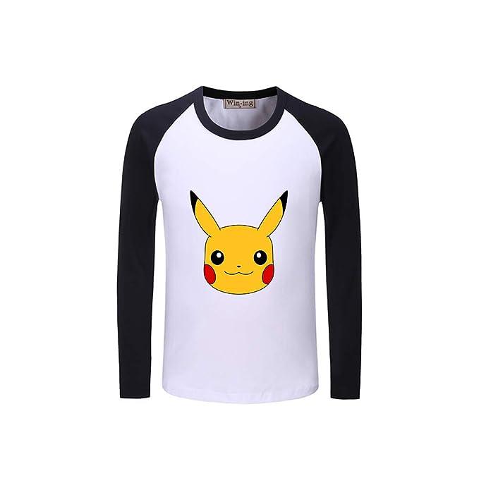 Pokemon Personalizado Manga Larga T-Shirt Clasicos Sencillas Camisetas Ocasionales Empalme Remeras Estampado Cuello Redondo Sudaderas para Novio Y Novia: ...