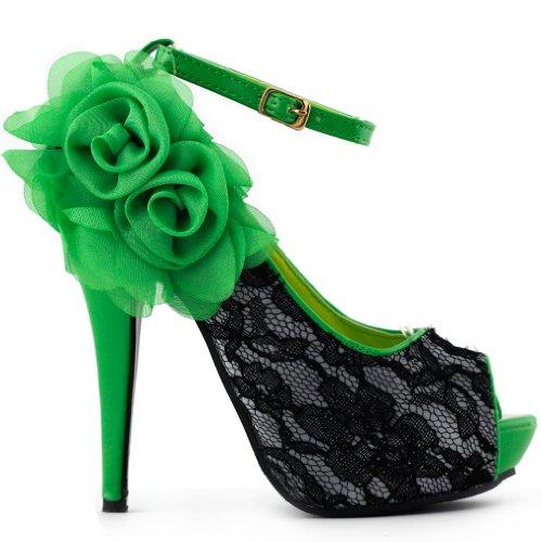 SHOW STORY Sexy Green Black Lace Peep Toe Flowers Stiletto High Heel Platform Shoes,LF30408GR39,8US,Green ()