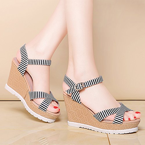 HGTYU Ms Summer Shoes A With White Student High 5Cm Toe Wedge Heel 9 Summer All Female Sandals Match SqSxr0