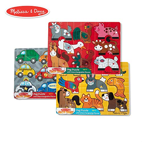 Melissa & Doug Mix 'n Match Wooden Peg Puzzles (Set of 3) - Animals and Cars (Puzzles Baby Melissa And Doug)