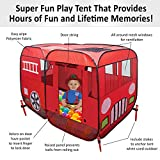 Large Fire Truck Pop-Up Play Tent (with Step) at Front Door - Great for Ball Pit - Children can Pretend to be Fireman Sam - Fire Engine Playhouse good for Indoor or Outdoor for Boys Girls Toddlers