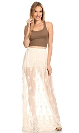 49fd13b6bee75 Floral Embroidered Sheer Maxi Skirt in Ivory at Amazon Women s Jeans ...