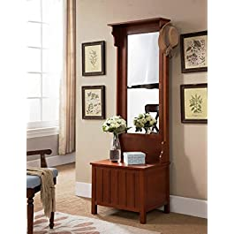 Kings Brand Furniture Entryway Hall Tree with Mirr...