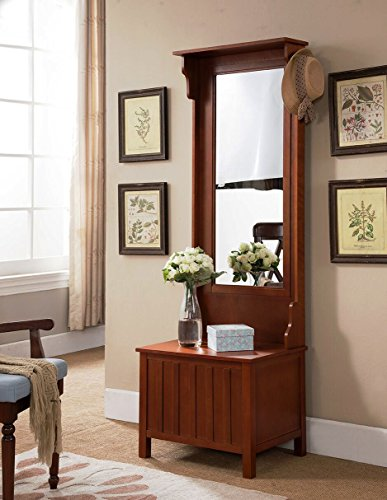 Kings Brand Furniture Entryway Hall Tree with Mirror Coat Hooks & Storage Bench, Walnut (Mirror With Hall Tree Bench And)