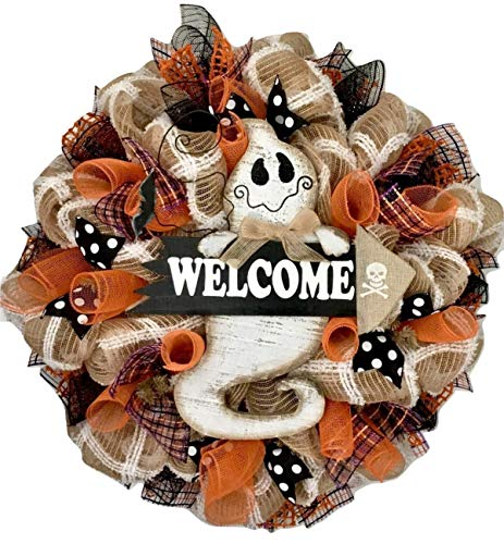 Friendly Ghost With Welcome Sign Handmade Deco Mesh Halloween Wreath]()