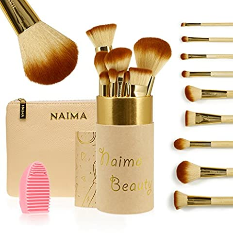 PRO Makeup Brush Set by NAIMA BEAUTY - Includes 9 Professional Bamboo Makeup Brushes – Luxurious Leather Bag & Vanity Brush Case - Best Quality Brushes for Face and Eye Makeup – GOLD + - Lip Colour Loreal Infallible 1 Kit