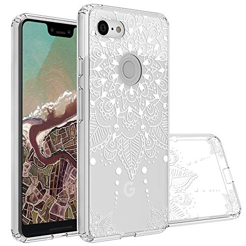 Topnow Google Pixel 3 XL Case, Clear Design Plastic Hard Back Case with TPU Bumper Protective Case Cover for Google Pixel 3 XL - White Flower