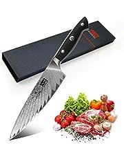 SHAN ZU Cuchillo de Cocina Damasco y Bloque de Cuchillos