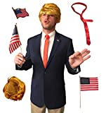 Full Donald Trump Halloween Costume Set | Wig - Tie - Pin - and Flag Included!