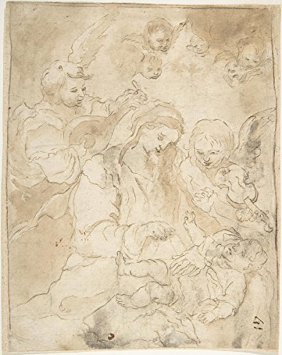 (Historic Pictoric Fine Art Print | Spanish, School of Seville, 17th Century | Madonna and Child with Angels Playing Lute and Viola da Braccio | Vintage Wall Art | 16in x 20in)