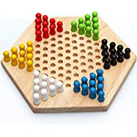 Chinese board game Wooden hexagon checkers Educational desk for children