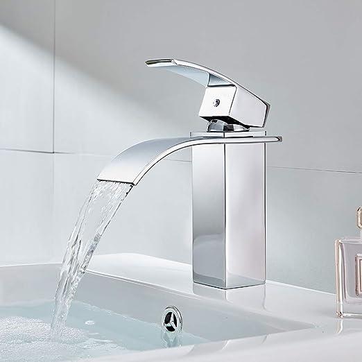 Robinet lavabo courbe laiton chrom/é avec bec cascade robinet lavabo design moderne