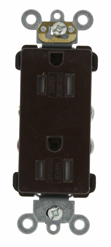 125 Volt Leviton TDR15-E 15 Amp Decora Plus Duplex Receptacle Straight Blade Self Grounding Tamper Resistant Commercial Grade Black