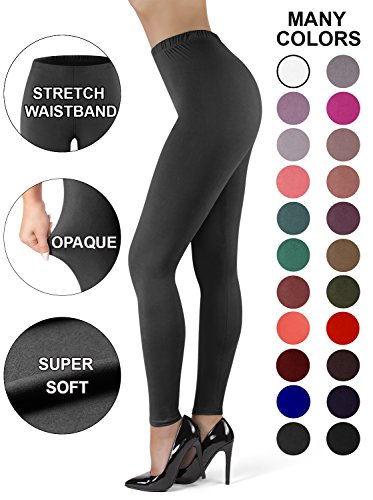 (Satina High Waisted Leggings for Women | New Full Length w/Stretch Waistband | Ultra Soft Opaque Non See Through (OneSize, Charcoal))