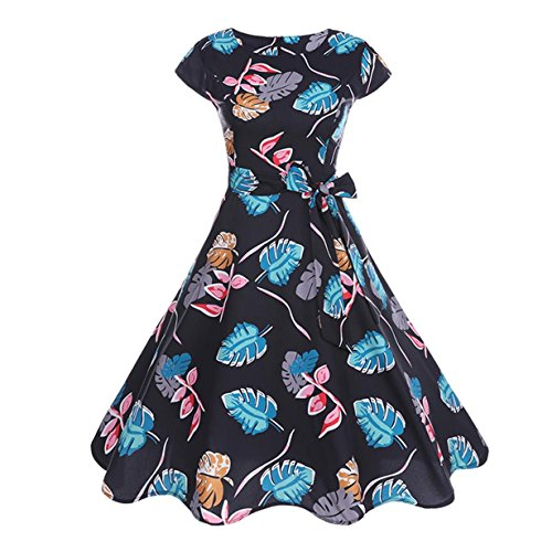 (Londony ❤️ Hot Women's 50's Cocktail Leaf Print Boat Neck Short Sleeve Vintage Tea Dress 1950s Retro Rockabilly Prom Dresses (❤️Black, XL))