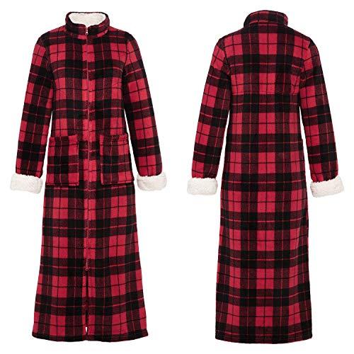 Alexander Del Rossa Women's Zip Up Fleece Robe, Warm Fitted Bathrobe