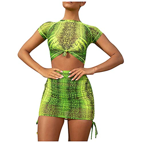 - Women Two Piece Outfits Set Sexy Snakeskin Short Sleeve Crop Top Tie Front Tshirt Tank Tops with Side Tie Skirt Mini Dress Suits Summer Casual Wear Party Night Clubwear