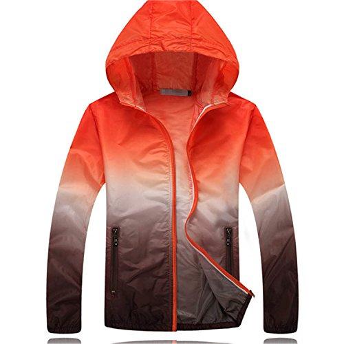 YouzhiWan007 New Summer Sunscreen Coat Jacket Unisex Windbreaker Waterproof Thin Hooded Zipper Quick Drying Orange (Orange Thermal Lined Zipper Hooded)